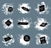 Abstract set of blobs, splash, labels. On background stock illustration