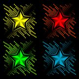 Abstract set of color stars Stock Photography