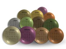 Abstract set of colored 2017 calendar balls Royalty Free Stock Images