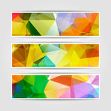 Abstract set of colorful banners with Modern Triangular Polygona Stock Photo