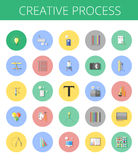 Abstract  set of colorful flat creative process icons. Concepts and design elements for mobile and web applications. Royalty Free Stock Photo