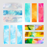Abstract set of different colorful banners with Modern Triangula Stock Photos