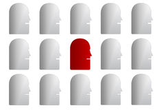 Abstract set of faces. Set of faces in red and white Stock Photography