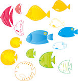 Abstract set fish Stock Image