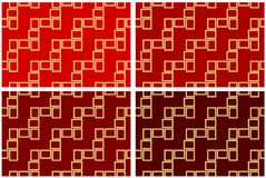 Abstract set of four seamless pattern textures of golden rectangular frames over red shades background template Vector illustratio. N computer graphic design stock illustration