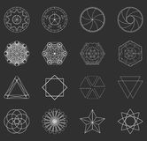 Abstract set geometric shapes, futuristic wavy fractal of star a Stock Photos