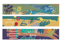 Abstract set horizontal banners spring floral art and sign. Stock Image