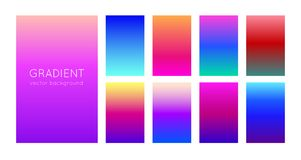 Abstract soft color gradient backgrounds and texture for mobile applications and smartphone screen. Vivid design element. Vector. Abstract set of modern bright Stock Images