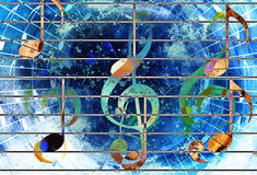Abstract set of music clefs and lines with notes, music theme graphic collage. Stock Image