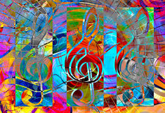 Abstract set of music clefs and lines with notes, music theme graphic collage. Abstract set of music clefs and lines with notes, music theme graphic collage Royalty Free Stock Image