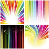 Abstract set of rainbow color stripe background. Abstract set of rainbow color stripe and stars background Stock Photo
