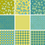 Abstract set of seamless pattern with blue green circle elements. Ethnic summer texture rings Royalty Free Stock Image