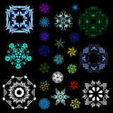 Abstract set of snowflakes Royalty Free Stock Images