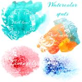 Abstract set with vector  watercolor spots and signatures. Set of vector watercolor spots in realistic style.Abstract set with vector  watercolor spots and Stock Image