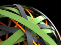 3d modern abstract background. Abstract shape of black, orange and green rings. Business concept. 3d render illustration Royalty Free Illustration