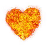 Abstract shape of fire heart on white Stock Photos