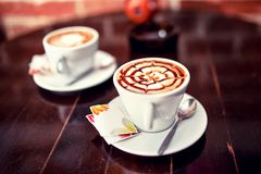 Abstract shape on a fresh bio coffee in a cup Royalty Free Stock Photo