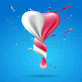 Abstract shape heart with milk and strawberry twist. Royalty Free Stock Photo