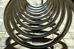 Abstract shape made by bicycle parking. Picture of Abstract shape made by bicycle parking royalty free stock photos