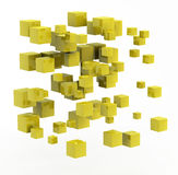 Abstract shape made from golden cubes. 3d abstract shape made from golden cubes Royalty Free Stock Images