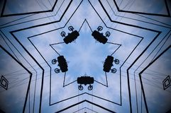 Abstract shape mandala. Blue, white and black mandala. Five sided star with pulleys Royalty Free Stock Images
