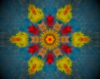 Abstract shape mandala. Small extruded square forming flower and 6 sided star shape in the middle. Red, orange, green, blue Royalty Free Stock Image