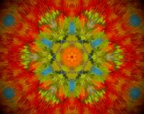 Abstract shape mandala. Small extruded square forming flower and 6 sided star shape in the middle. Red, orange, green, blue Royalty Free Stock Photos