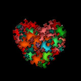 Abstract shape of puzzle on black background Stock Photography