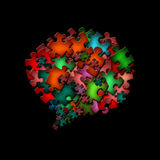 Abstract shape of puzzle on black background. There is a abstract shape of colorful puzzle pieces stock illustration