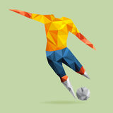 Abstract shape soccer player, polygonal. Stock Image