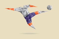 Abstract shape soccer player, polygonal. Stock Photo