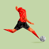Abstract shape soccer player, polygonal. Stock Images