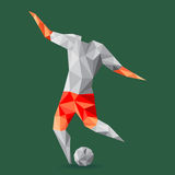 Abstract shape soccer player, polygonal. Royalty Free Stock Photography