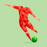 Abstract shape soccer player, polygonal. Stock Photography
