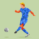 Abstract shape soccer player, polygonal. Royalty Free Stock Photos