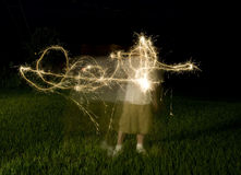 Abstract Shape from Sparklers Royalty Free Stock Photography