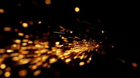 Abstract shape of splashing sparklets like comet tail straight to perspective. And top stock footage
