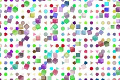 Abstract shape, for web page, wallpaper or graphic design. Pattern, texture, grid, effect & box. Mixed colored rectangle, triangle, circle, ellipse & star Royalty Free Stock Photos