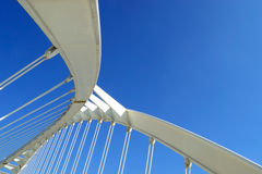 Abstract shape of a white bridge. Space for editor's text. Stock Photos