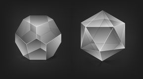Abstract shapes. Abstract 3d shapes on black background Stock Illustration