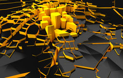Abstract shapes. Black and orange blocks looks like city. Royalty Free Stock Images