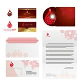 Abstract shapes and business cards and  envelopes. Drops and knot abstract shapes, icons and business envelopes Royalty Free Stock Images