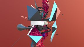 Abstract shapes composition. Abstract colorful composition with different shapes and strange objects, high resolution 3D render Royalty Free Stock Photography
