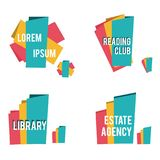 Abstract shapes for library, reading clubs, real estate and other business icons. Design template Royalty Free Stock Photography