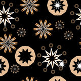 Abstract shapes seamless pattern. On black Stock Images