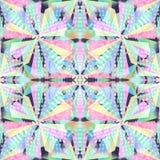 Abstract shapes seamless pattern. Kaleidoscope effect. Stock Photo