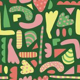 Abstract shapes seamless vector pattern. Simple elements pink, yellow, green background Scandinavian style. Modern happy royalty free illustration