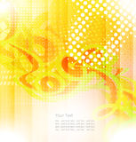 Abstract shapes swirl and light vector background. Bright abstract yellow background with lines and circles Stock Image