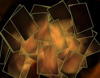 Abstract Shattered Photo. Design of shattered photo with flames in the background Royalty Free Stock Photos