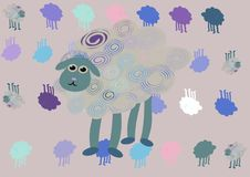 Abstract sheep background. Four cute sheeps background stock illustration
